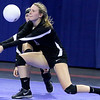 (Brad Davis/The Register-Herald) Fayetteville's Katie Skaggs returns the ball during the Pirates' opening round game against Williamstown in the class A State Volleyball Tournament Friday morning at the Charleston Civic Center.