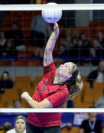 (Brad Davis/The Register-Herald) PikeView's Abby Lester hits the ball during the Panthers' opening round win in the class AA State Volleyball Tournament Friday morning at the Charleston Civic Center.