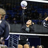 (Brad Davis/The Register-Herald) Fayetteville's Whimzey Gipson returns the ball during the Pirates' opening round game against Williamstown in the class A State Volleyball Tournament Friday morning at the Charleston Civic Center.