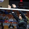 (Brad Davis/The Register-Herald) Fayetteville's Caroline Fenton returns the ball during the Pirates' opening round game against Williamstown in the class A State Volleyball Tournament Friday morning at the Charleston Civic Center.