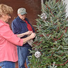 (Brad Davis/The Register-Herald) Resident Barbara Parmer and her brother Charles Jeffries, visiting from Weston for the Thanksgiving weekend, work together decorating a real Christmas tree picked up from the local Kroger on the front porch of Parmer's 1st Avenue home in Hinton Friday afternoon. With Thursday's turkey day festivities passed, many residents will now be shopping for trees and hanging up lights as they begin gearing up for Christmas.