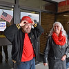 (Brad Davis/The Register-Herald) Raleigh County voters Eugene and Pauline Miller exit their precinct as fellow voter Shane Caron holds the door for them on his way in at Liberty High School Tuesday afternoon in Glen Daniel.
