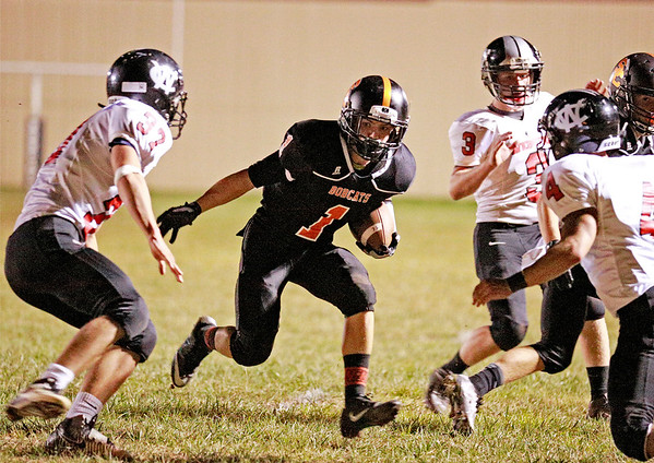 Summers County's C. J. Shrewsbury (1) looks to get in the end zone on a carry during their football game against  Webster County Friday in Hinton. (Chris Jackson/The Register-Herald)