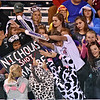 (Brad Davis/The Register-Herald) A rowdy James Monroe student section Friday in Lindside.