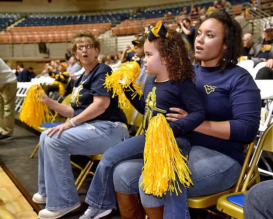 (Brad Davis/The Register-Herald) WVU/WVU Tech pep rally put on by both the Mountaineers and the Golden Bears cheerleading teams Friday night at Beckley-Raleigh County Convention Center.