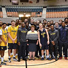 (Brad Davis/The Register-Herald) WVU/WVU Tech group photo with WVU Beckley President Carolyn Long following practice Friday night at Beckley-Raleigh County Convention Center.