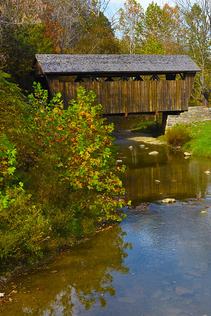 The Indian Creek Covered Bridge is a historic covered bridge near US 219, about 4 miles away from Salt Sulphur Springs, in Monroe County. It is owned by the Monroe County Historical Society, and was originally built in 1898 by Ray and Oscar Weikel. The bridge is 49.25 feet long and 11.5 feet wide.[