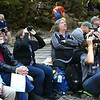 Spectators watch Base jumpers jump off the New Gorge Bridge during Bridge Day in Fayetteville.<br /> (Rick Barbero/The Register-Herald)