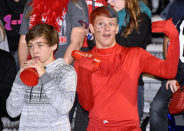 (Brad Davis/The Register-Herald) Indy students react to events on the field during the Patriots' home game against Summers County Friday night in Coal City.