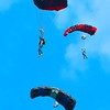 Base jumpers jump off the New Gorge Bridge during Bridge Day in Fayetteville.<br /> (Rick Barbero/The Register-Herald)