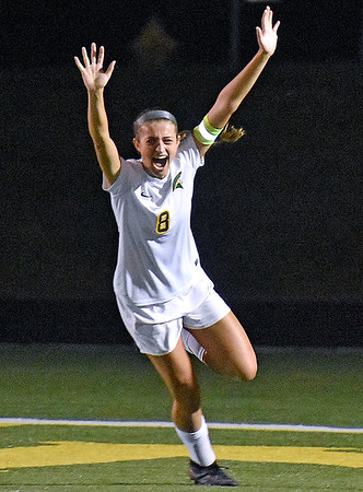 (Brad Davis/The Register-Herald) Greenbrier East's Mallory Baker reacts after scoring her second goal of the game in the win over Woodrow Wilson Thursday night in Fairlea.