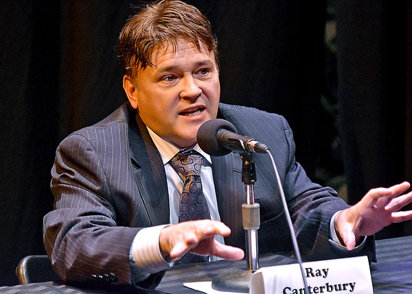 (Brad Davis/The Register-Herald) Delegate Ray Canterbury speaks during the Greater Greenbrier Chamber of Commerce's District 42 Candidate Forum Wednesday evening at the Greenbrier Valley Theatre.
