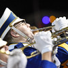 A Shady Spring band member performs at halftime of their football game against Clay County Friday in Shady Spring. (Chris Jackson/The Register-Herald)
