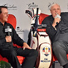 (Brad Davis/The Register-Herald) Owner Jim Justice speaks after introducing Phil Mickelson, left, as the Greenbrier's new PGA Tour Golf Ambassador during a press conference at the resort Saturday afternoon in White Sulphur Springs.