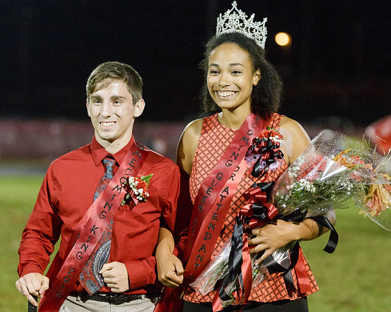 Homecoming Queen, Daniel Richardson and King, Dawson Vincent are announced during the halftime ceremony. Chad Foreman for the Register Herald