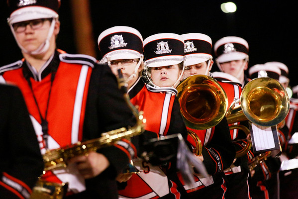 Members of the Summers County marching band prior to kickoff of their football game against Webster County  Friday in Hinton. (Chris Jackson/The Register-Herald)