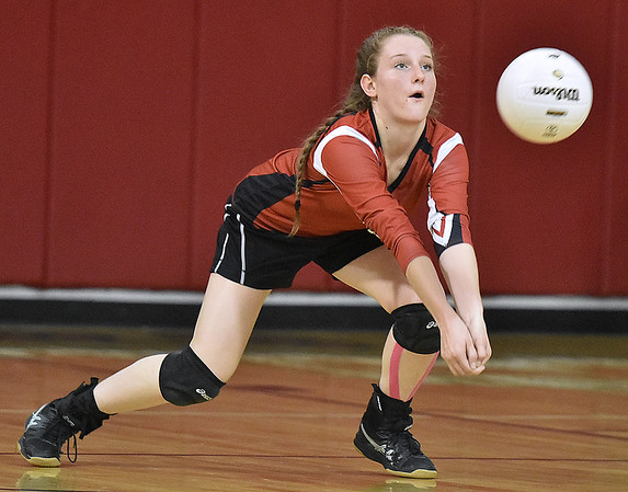 (Brad Davis/The Register-Herald) Greater Beckley Christian's Abby Hill returns a ball against Greenbrier West Wednesday night in Prosperity.