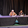 (Brad Davis/The Register-Herald) From left, challenger Stephen Baldwin speaks as moderator Mike Kidd and incumbent delegates George Ambler and Ray Canterbury listen during the Greater Greenbrier Chamber of Commerce's Candidate Forum Wednesday evening at the Greenbrier Valley Theatre.