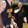 (Brad Davis/The Register-Herald) WVU head coach Bob Huggins instructs his players during the Mountaineers' practice Friday night at Beckley-Raleigh County Convention Center.