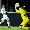 Woodrow Wilson forward Austin Hatfield's attempt on goal is saved by Greenbrier East'er goalkeeper latein the first half of their Class AAA, Region 3, Section 1 Tournament game in Beckley on Tuesday. (Chris Jackson/The Register-Herald)