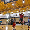 (Brad Davis/The Register-Herald) Local residents (from left) Emily Akers, Chris Cook, Bryan Jones, James Akers (with ball), Caleb Jones (background standing behind James Akers) and Gary Martin enjoy a game of pick-up basketball inside the YMCA of Southern West Virginia Sunday afternoon during an open house weekend at the facility.