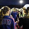 Liberty and midland Trail cheerleaders play a game prior to kickoff of their football game Friday in Glen Daniel. (Chris Jackson/The Register-Herald)