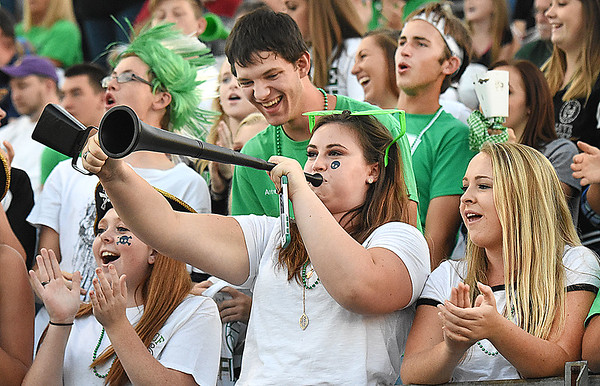 Fayetteville student section cheering in the first quarter during game against Oak Hill Friday night at the John P. Duda stadium in Oak Hill <br /> (Rick Barbero/The Register-Herald)