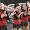 Oak Hill cheerleaders during game against Fayetteville Friday night at the John P. Duda stadium in Oak Hill. <br /> (Rick Barbero/The Register-Herald)