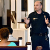 (Brad Davis/The Register-Herald) Beckley Police Chief Lonnie Christian speaks during a community meeting and discussion on gun violence hosted by Moms Demand Action for Gun Sense in America Saturday afternoon at Heart of God Ministries. Four Beckley officers attended the discussion answering questions from residents, describing initiatives the department is taking to curb violence and offering suggestions on what communities can do to help turn back the growing public health crisis of gun violence.