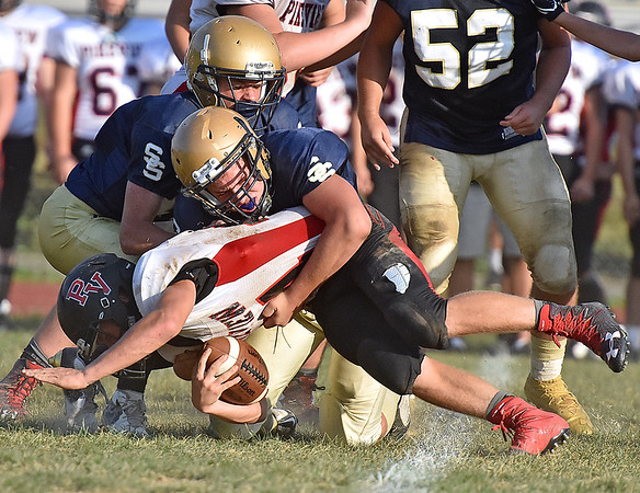 (Brad Davis/The Register-Herald) PikeView running back Evan Rose is stuffed late in the fourth quarter by Shady Spring defender Jaron Bragg during the Tigers' homecoming game win over the Panthers Saturday afternoon.