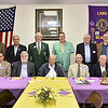 (Brad Davis/The Register-Herald) A group of 15 past presidents and district governors still living pose for a group photo prior to a special dinner and ceremony honoring them at the Beaver Lions Club Thursday evening.