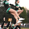 Fayetteville cheerleaders during game against Oak Hill Friday night at the John P. Duda stadium in Oak Hill <br /> (Rick Barbero/The Register-Herald)