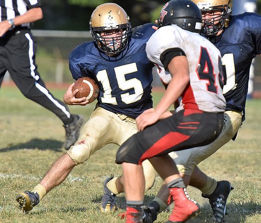 (Brad Davis/The Register-Herald) Shady Spring running back Tyler Bragg cuts back on PikeView defender Evan Rose during the Tigers' homecoming win over PikeView Saturday afternoon.