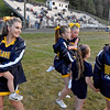 (Brad Davis/The Register-Herald) Aspiring young cheerleaders get a chance to hang on the field with high school squad prior the Cavaliers' home game against Buffalo Friday night in Charmco.