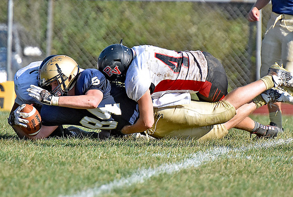(Brad Davis/The Register-Herald) Shady Spring's Jonathan Sawyers reaches for extra yardage during the Tigers' homecoming win over PikeView Saturday afternoon.
