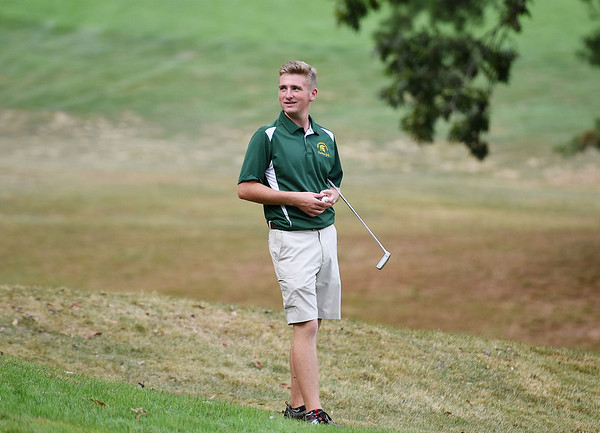 Greenbrier East's  Jacobey Gore looks on before teeing off on the 17 hole over during a Class A Golf Tournament at the Lewisburg Elks Country Club in Lewisburg on Monday. (Chris Jackson/The Register-Herald)