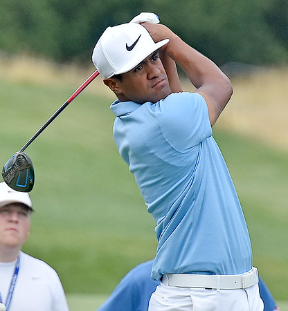 (Brad Davis/The Register-Herald) Tony Finau tees off on #11 during third round Greenbrier Classic action Saturday afternoon in White Sulphur Springs.