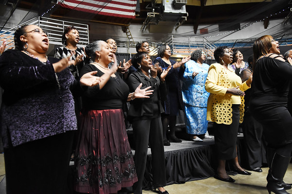 Members of the Heart of God Ministries Sing during the 31st annual Spirit of Beckley Award at the Beckley-Raleigh County Convention Center in Beckley on Monday. (Chris Jackson/The Register-Herald)