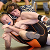 (Brad Davis/The Register-Herald) Shady Spring's Riley Chapman takes on Richwood's Korbin Groves in a 170-pound weight class matchup during the Raider Rumble Saturday afternoon in Glen Daniel. Shady's Chapman would pin Groves to win the match.