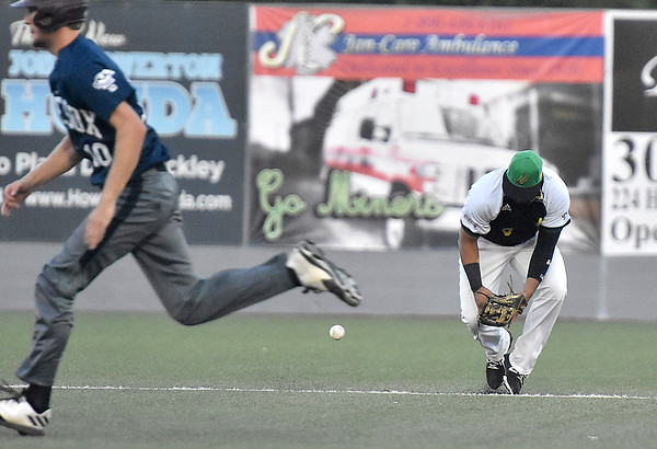 (Brad Davis/The Register-Herald) Miners 2nd baseman Ivan Acuna has a ground ball off the bat of Butler's Pavin Parks get away from him, one of five West Virginia errors on the night, Wednesday night at Linda K. Epling Stadium.