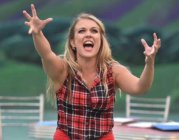 (Brad Davis/The Register-Herald) Ariel Moore, played by Molly Ann Ross, during a scene from Theatre West Virginia's Footloose at Grandview Park's Cliffside Amphitheatre.