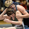 (Brad Davis/The Register-Herald) Western Greenbrier's Joey Terry grapples with Park's Haiden Steevens as the two battle in a 155-pound weight class matchup during the Wayne Bennett Duals Saturday morning at Park Middle School. Park's Stevens would win the match.