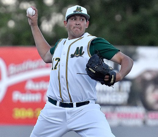 (Brad Davis/The Register-Herald) Miners starting pitcher Nick DeArmond delivers against the Butler Blue Sox Friday night at Linda K. Epling Stadium.