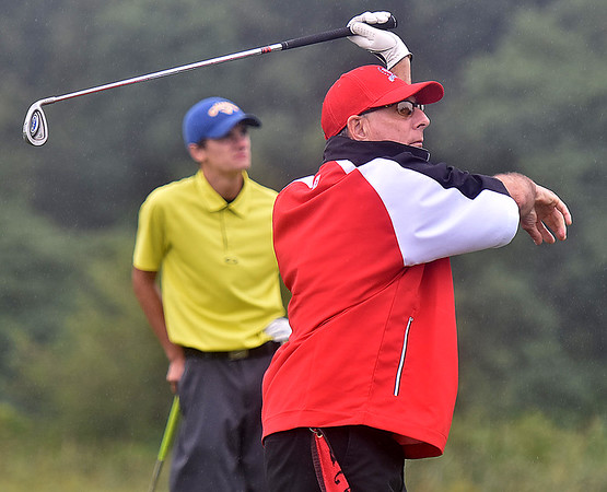 (Brad Davis/The Register-Herald) Stan Selden grips it and rips it during BNI action Saturday afternoon at Grandview Country Club.