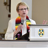 (Brad Davis/The Register-Herald) Rev. Julie Halstead, lead Pastor for Raleigh Shared Ministries, speaks during the vigil for peace and unity at St. Stephens Episcopal Wednesday night.