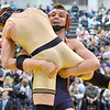 (Brad Davis/The Register-Herald) Independence's Heagan Harvey takes on Greenbrier West's Chase Patterson in the 152-pound weight class championship match during the 70th Annual WVSSAC State Wrestling Tournament Saturday night at the Big Sandy Arena in Huntington. Indy's Harvey won the match.