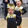 (Brad Davis/The Register-Herald) The Coal City Mountaineers' seven through nine-year-old team performs during a regional cheerleading competition featuring 16 teams at the Beckley-Raleigh County Convention Center Sunday afternoon.