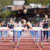 Oak Hill's Abigail Griffith wins the girls hurdles during the Coalfield Conference Track meet Tuesday in Coal City. (Chris Jackson/The Register-Herald)