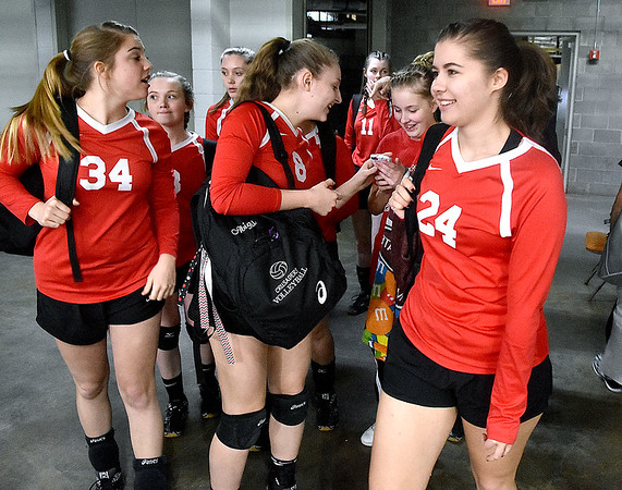 (Brad Davis/The Register-Herald) Greater Beckley Christian players enter the arena prior to their afternoon match against Moorefield during State Volleyball Tournament action Friday  at the Charleston Civic Center.