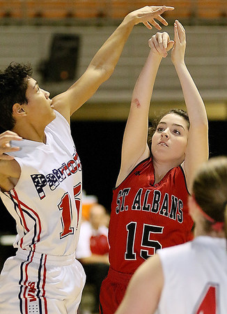 (Brad Davis/The Register-Herald) St. Albans' Kamryn Hedrick shoots from mid range Washington's Roxanne McFarlin defends during Big Atlantic Classic action Thursday afternoon at the Beckley-Raleigh County Convention Center.